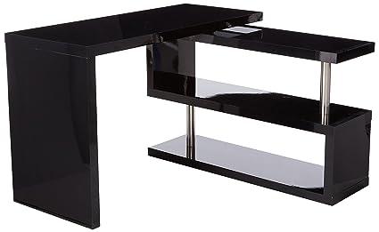 HOMCOM 75u201d Modern Corner Rotating Combo L Shaped Computer Desk With 2  Storage Shelves
