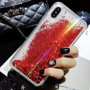 iPhone XR Case, Ebetterr Aurora Glitter Bling Liquid Case for Girls Women, Creative Flowing Liquid Floating Soft TPU Bumper Hard Clear Case Phone Cover for iPhone XR 6.1 inch 2018 Release-Red