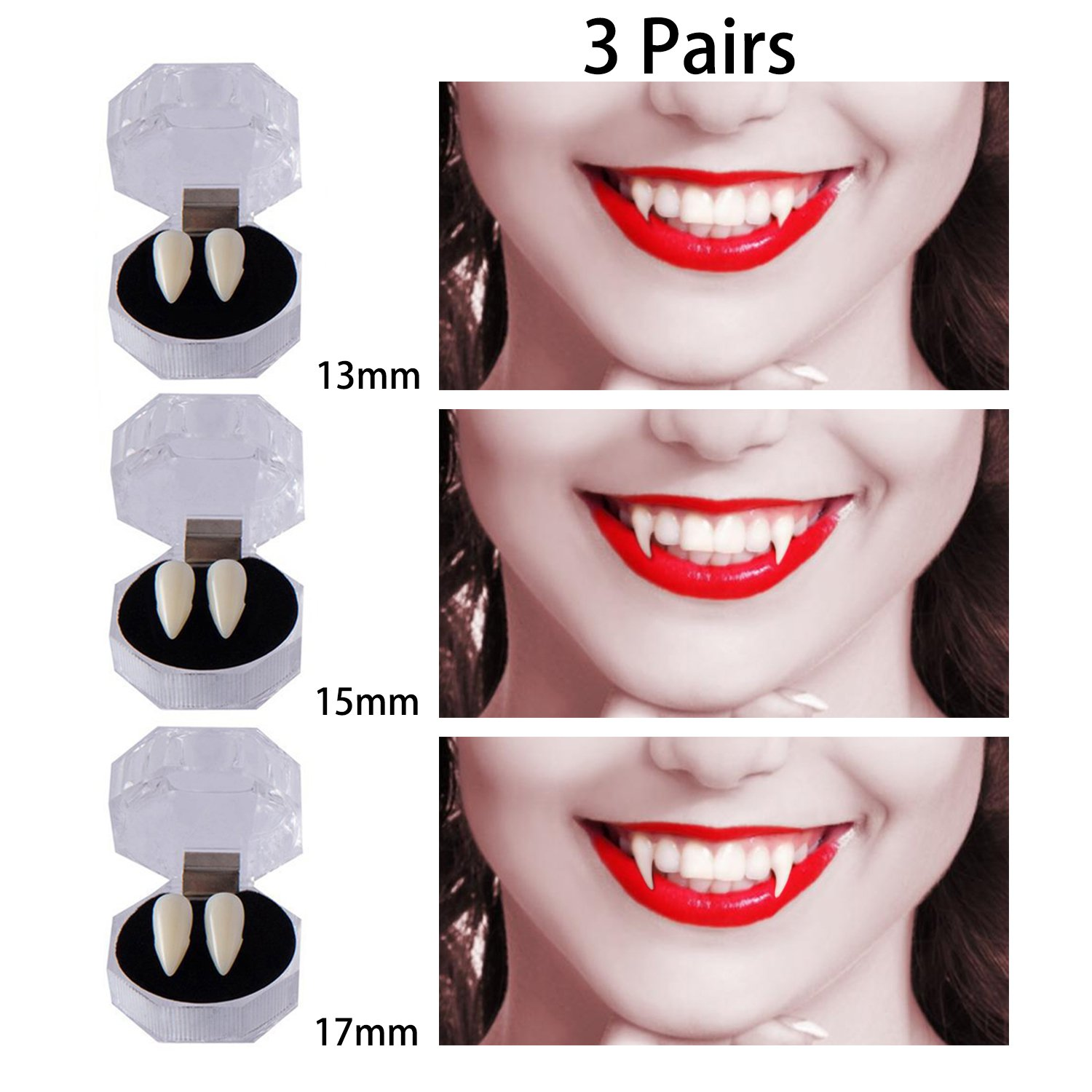3 Pairs Vampire Teeth for Halloween, Zombie Ghost Devil Werewolf Fangs for Costume Party Halloween Horror Props (13mm,15mm,17mm)