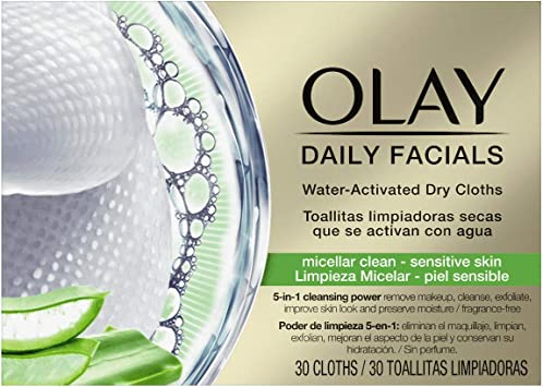 Olay Daily Facials Lingettes s/èches 5 en 1 activ/ées par leau