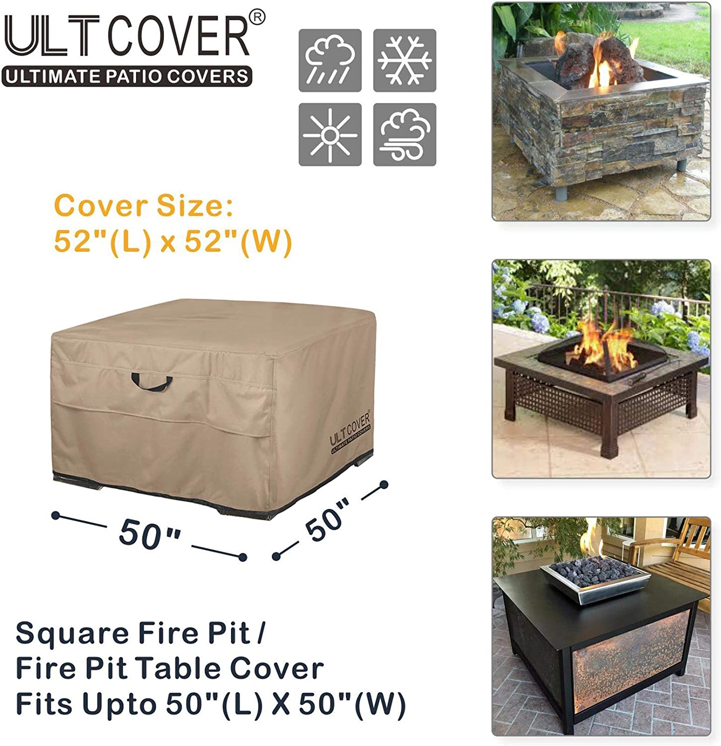 7YR Warranty Ripstop Grey Fits 50 Inch Width x 50 Inch Depth x 20 Inch Height Ultima Ripstop Covered Mesh Vent 600D UV//Water Resistant Poly Covermates: Square Patio Table Cover