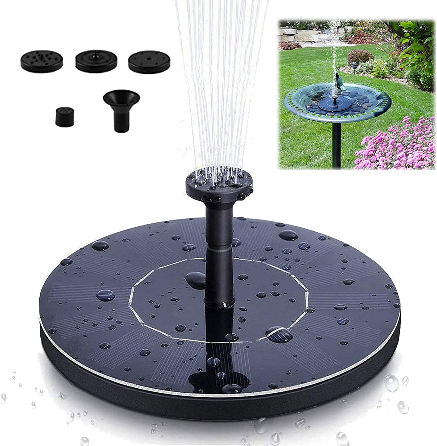 Blizzow Solar Fountain Pump for Bird Bath, Solar Water Fountain with 4 Nozzle, Free Standing Floating Solar Powered Water Fountains Pump for Patio, Pond, Garden, Pool, Fish Tank, Outdoor
