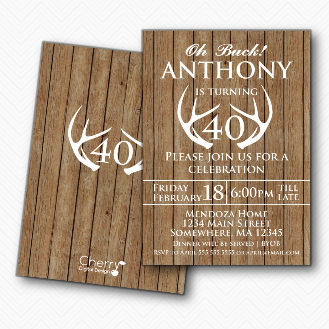 Rustic Wood Antler 40th Birthday Party Invitations