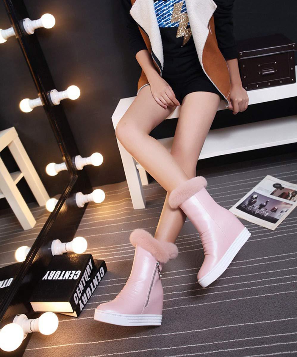 DANDANJIE damen Stiefel Winter Stiefel Wedges Heel Ankle Stiefel Winter Ladies High-Top Zipper Warm Snow Stiefel High-Top Schuhe Für Den Herbst Winter d4e603