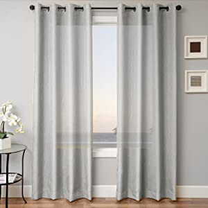 Gorgeous Home 1 Panel Solid Silver Gray SEMI Sheer Window Faux Silk Antique Bronze Grommets Curtain Drapes MIRA (84