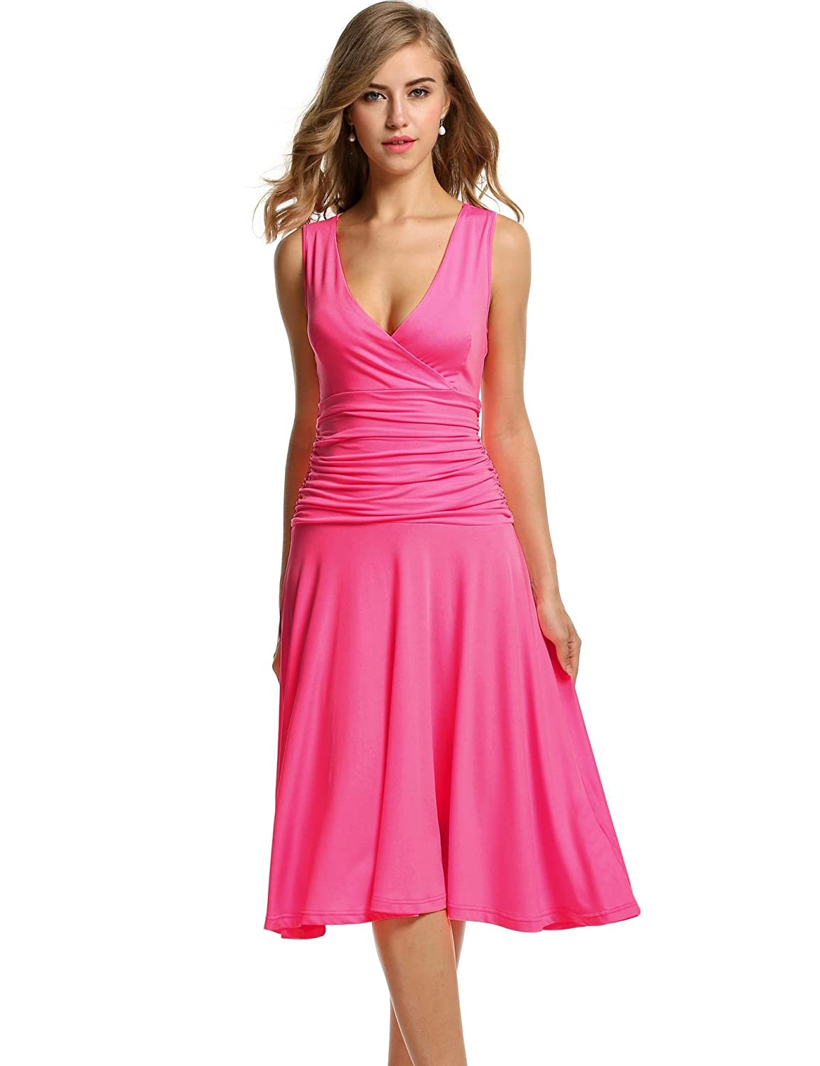 533dfa4a58a Meaneor Deep V Neck Cross Front Ruched Waist Sleeveless Tee Dress Plus  Size