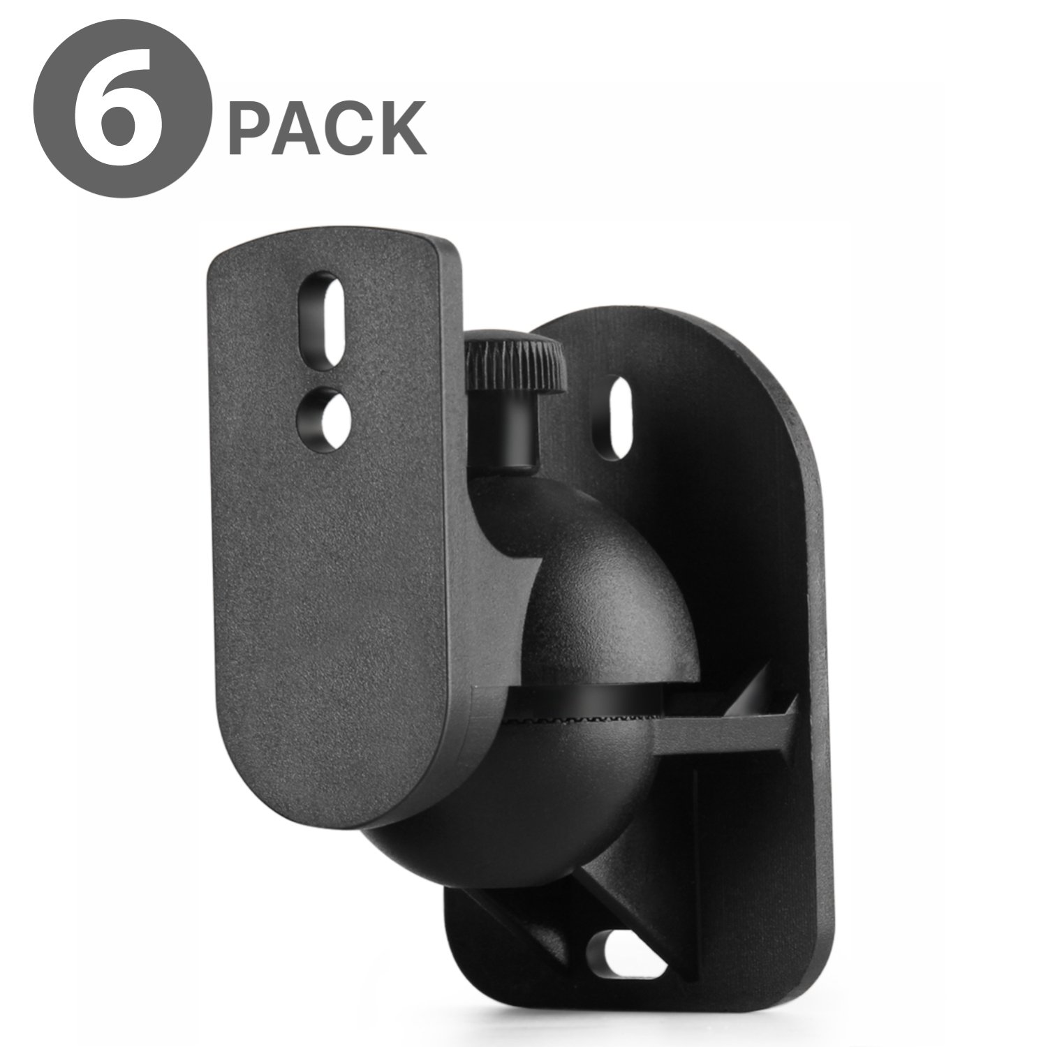 TNP Universal Satellite Speaker Wall Mount Bracket Ceiling Mount Clamp with Adjustable Swivel and Tilt Angle Rotation For Surround Sound System Satellite Speakers - 6 Pack, Black by TNP Products