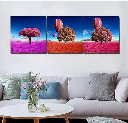 HD, Pittura per interni, Rosso, Terra, Albero, Mongolfiera, Cielo ...