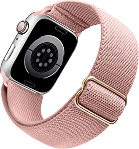 Arae Stretchy Nylon Watch Band Compatible with Apple Watch Band 44mm 42mm Adjustable Elastic Sport Band for iWatch Series 6 5 4 SE 3 2 1 Women Men - Pink, 42/44mm