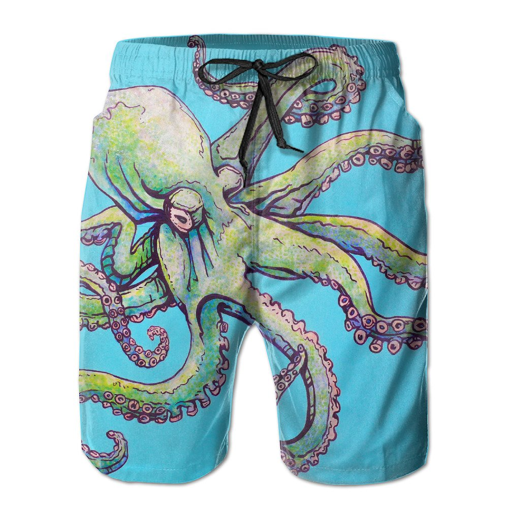 DS-co Teal Octopus Mens Summer Beach Quick-Dry Surf Swim Trunks Boardshorts Cargo Pants