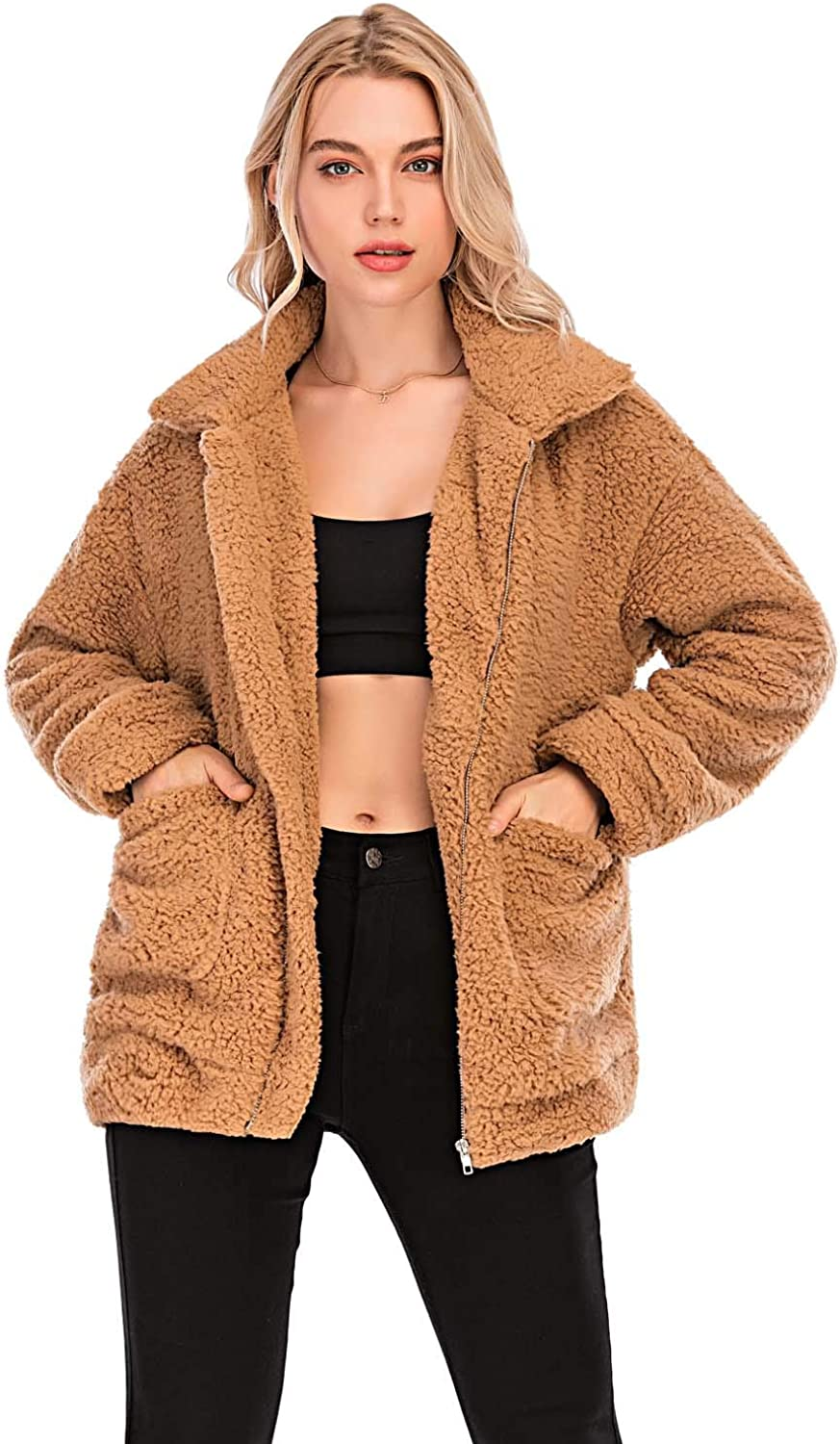Comeon Women's Faux Fur Jacket Shaggy Jacket Winter Fleece Coat Outwear Shaggy Shearling Jacket at  Women's Coats Shop
