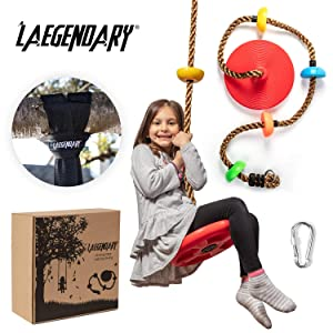 Climbing Rope Tree Swing with Platforms and Disc Swings Seat - Playground Swingset Accessories Outdoor for Kids - Trees House Tire Saucer Swing Outside Playset Toys - BONUS Carabiner and 4 Feet Strap
