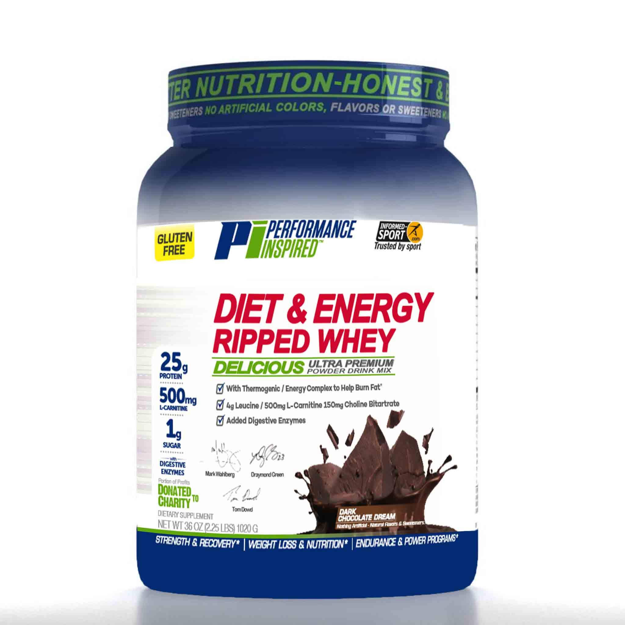Performance Inspired Nutrition Diet & Energy Ripped Whey Protein, Dark Chocolate Dream, 2.25 Lb Style #: Rwdkc by Performance Inspired Nutrition