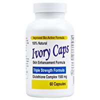 Ivory Caps - Maximum Potency 1500 mg Glutathione Skin Whitening Pills Complex, 60...