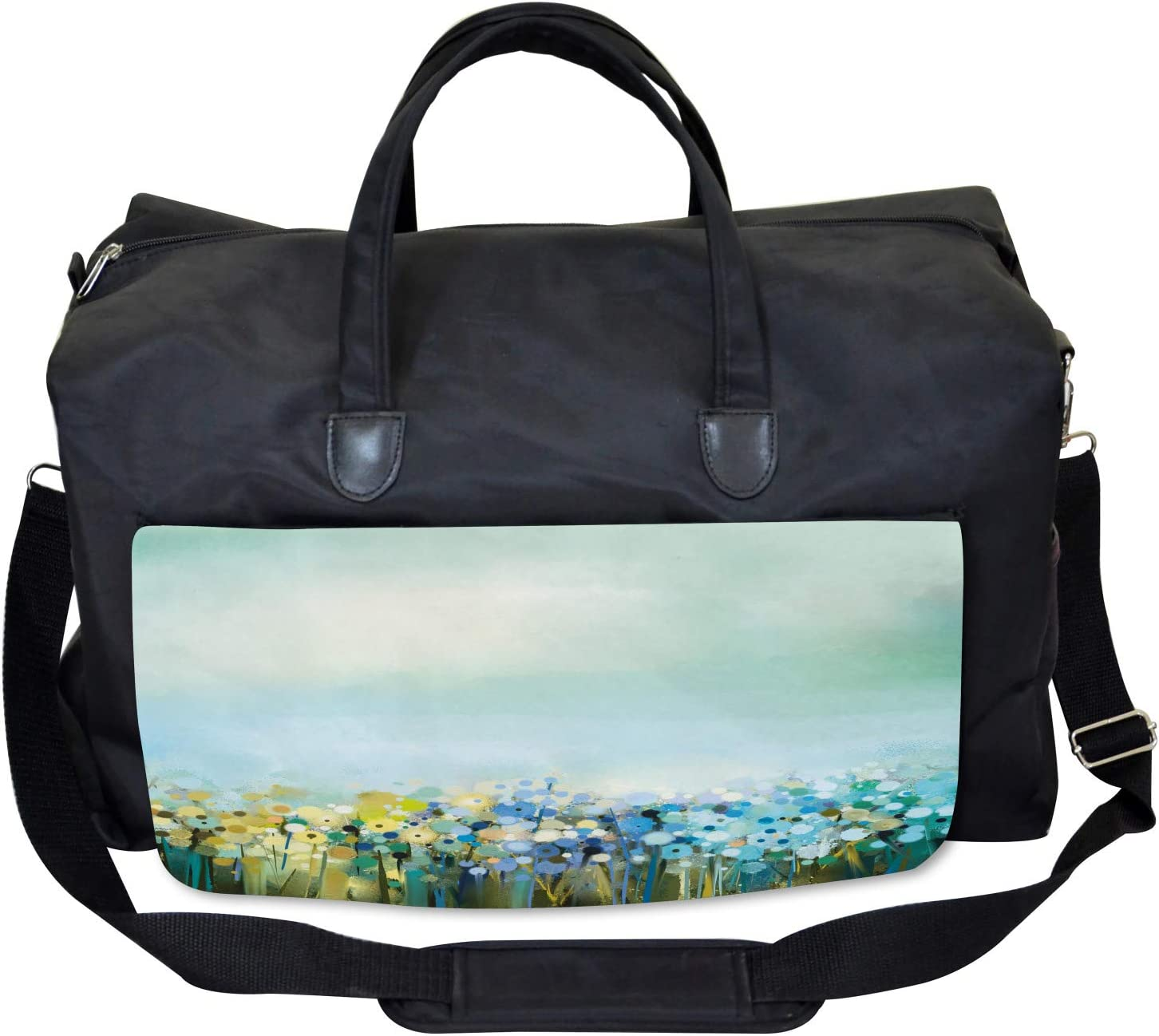 Large Weekender Carry-on Ambesonne Flowers Gym Bag Aqua Painting Effect