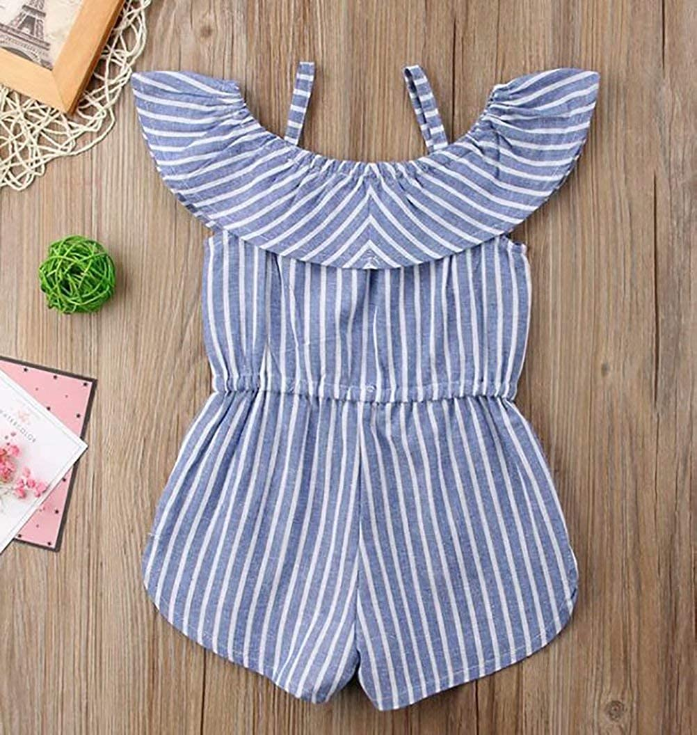 KIDDAD Kids Baby Girls Straps Sleeveless Off Shoulder Romper Backless Stripe Print Ruffle Jumpsuit