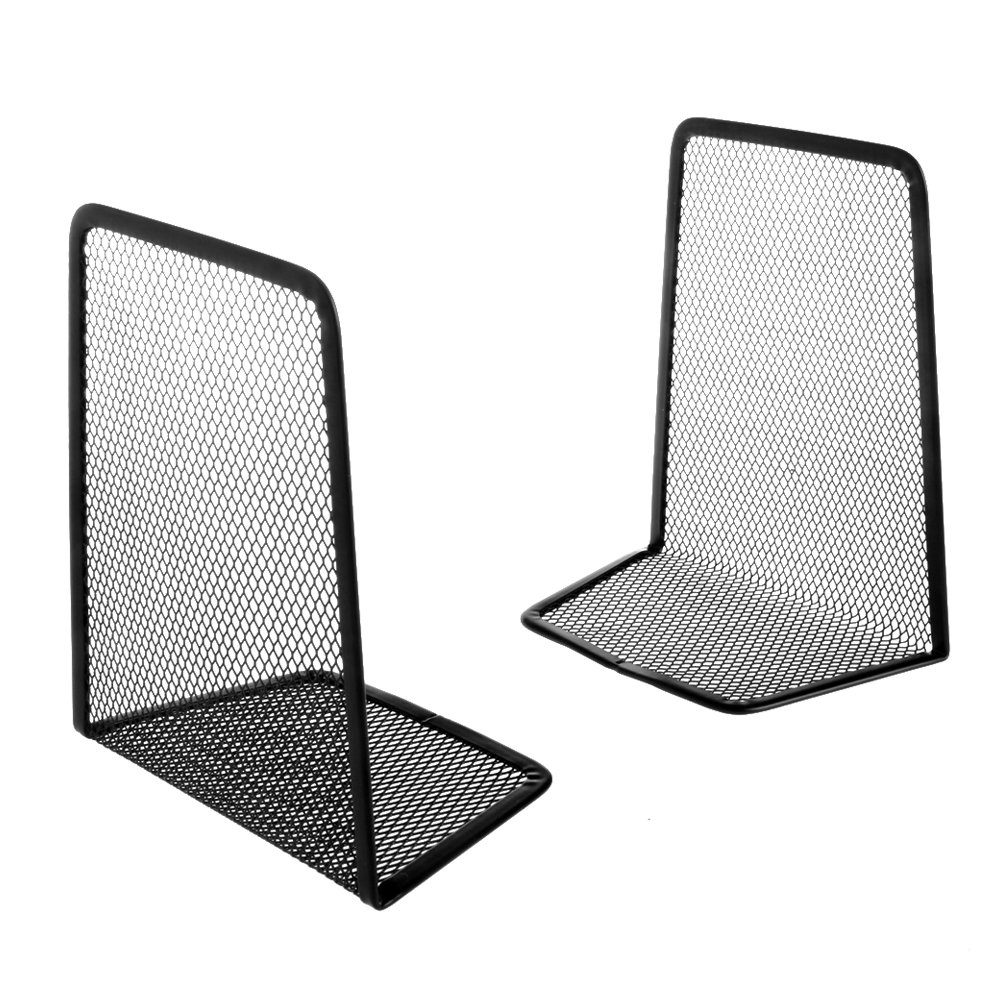 HMHUI 1 Pair Metal Mesh Desk Organizer Desktop Office Home Bookends Book Holder Black