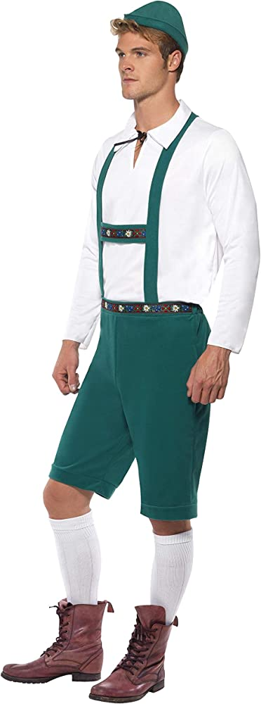Mens Bavarian Oktoberfest Lederhosen Fancy Dress Costume Blue New by Smiffys