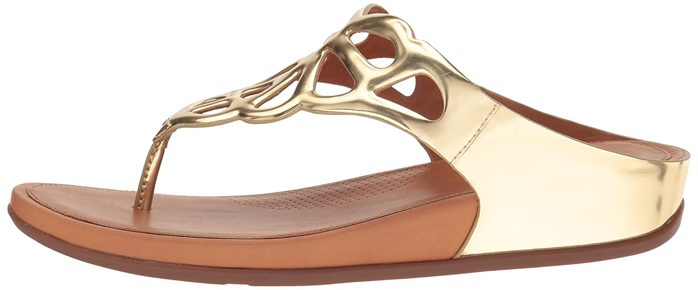 FitFlop Frauen Bumble Leder Mirror, Toe-Post Sandalen - Gold Mirror, Leder Gold, 41 - 5f6ff8