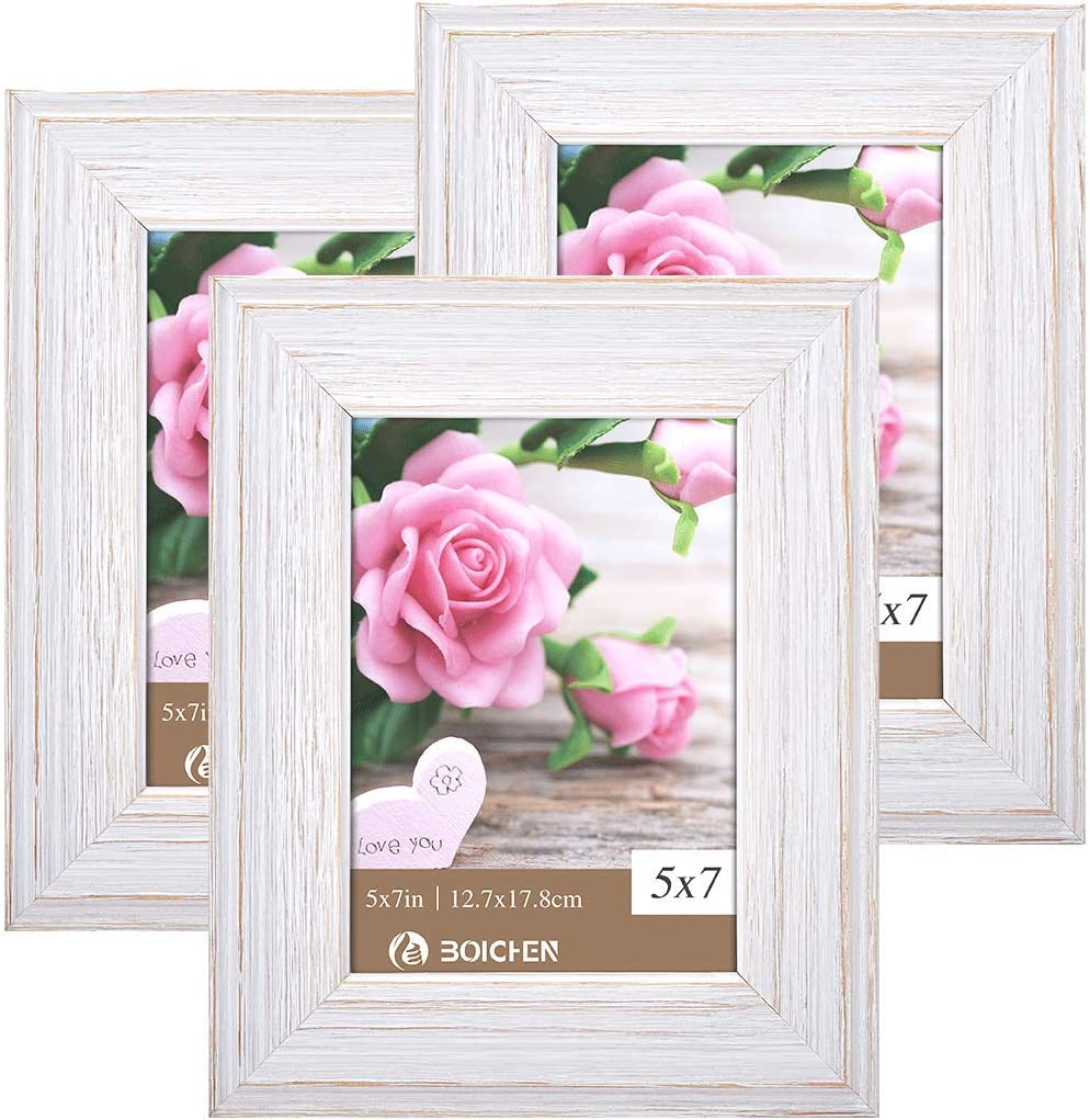 BOICHEN Picture Frames 5x7 in White - Rustic Distressed Solid Wood with Real Glass - Wall or Tabletop Display Pictures, 3 Pack