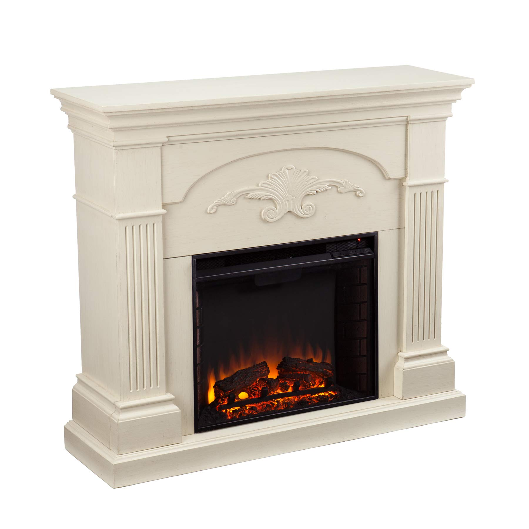 SEI Furniture Sicilian Harvest Traditional Style Electric Fireplace, Ivory
