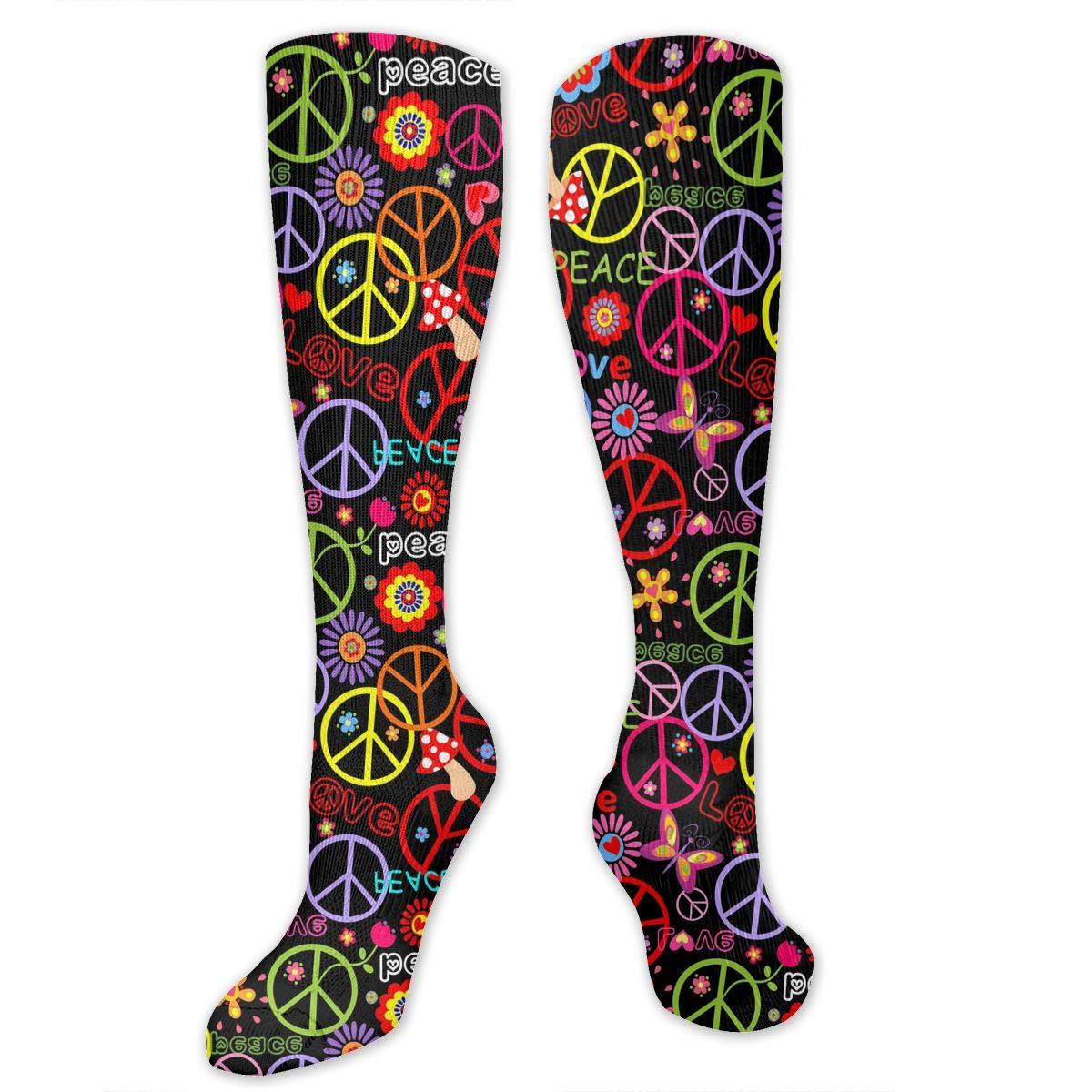 Unisex Peace Symbol Pattern Knee High Compression Thigh High Socks Soft Socks