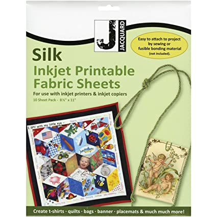 graphic regarding Printable Fabric Paper named Jacquard Ink Jet Material 8.5 x 11 Silk Sheets (10 pack)