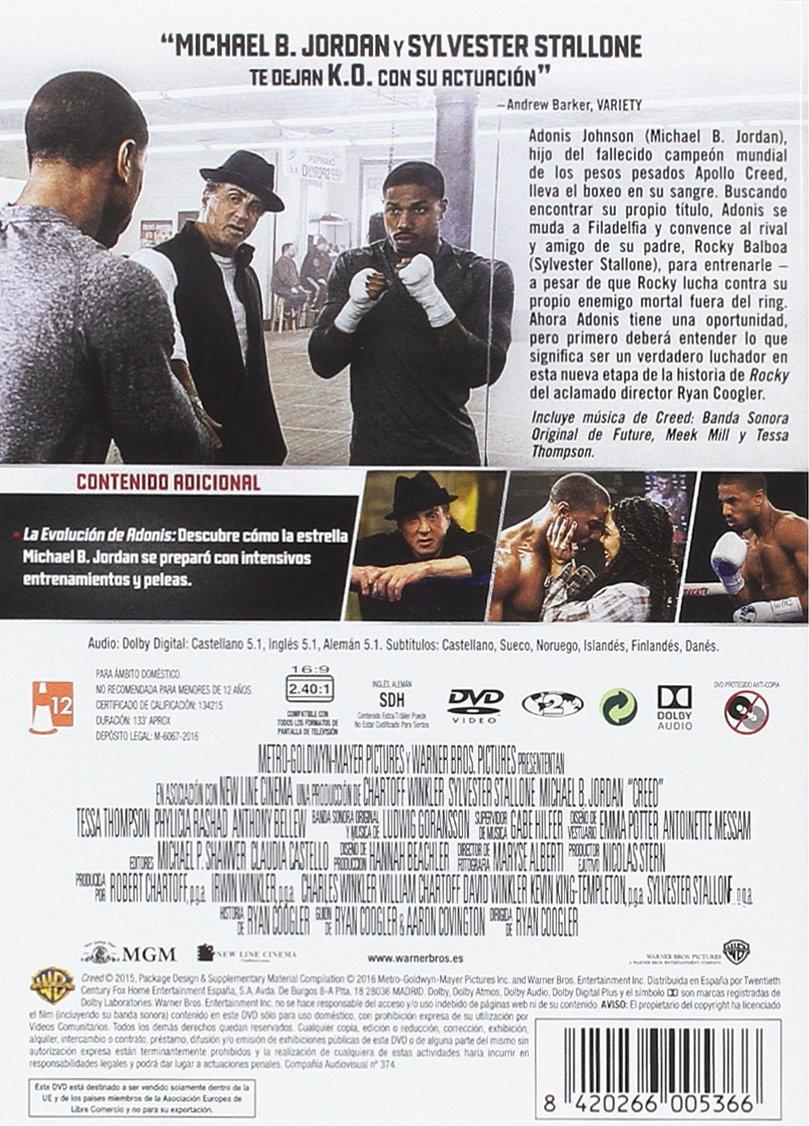 Creed: La Leyenda De Rocky [DVD]: Amazon.es: Michael B. Jordan, Sylvester Stallone, Tessa Thompson, Phylicia Rashad, Will Blagrove, Juanpablo Veza, ...