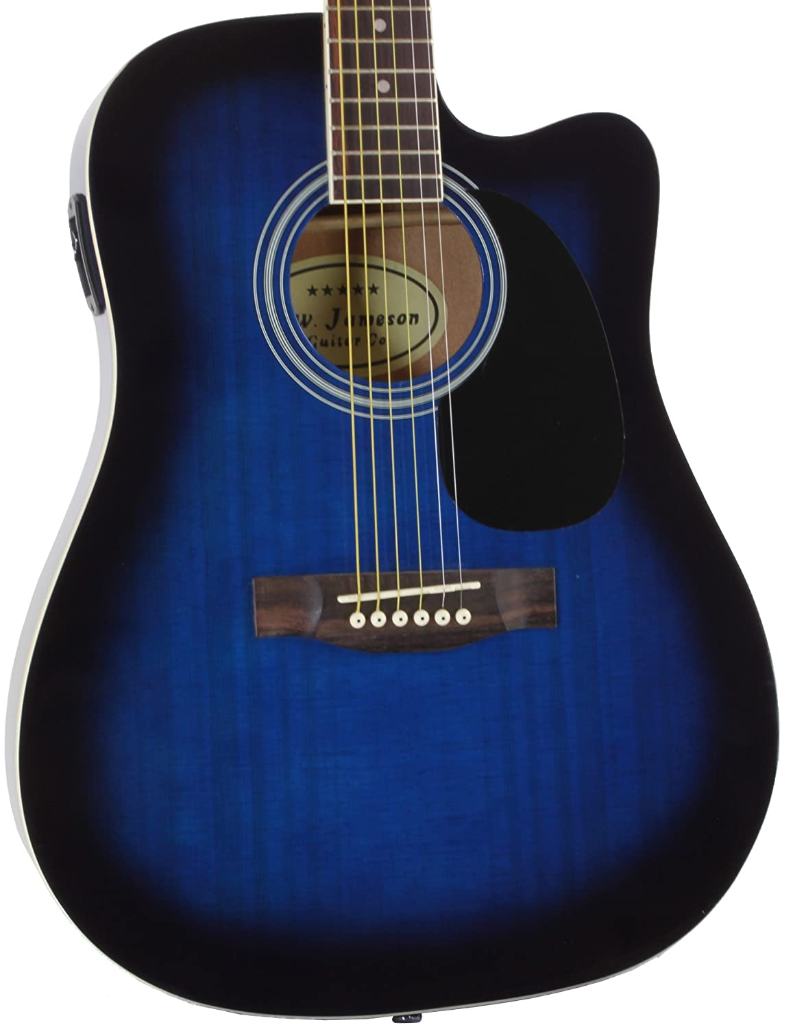 Jameson Guitars Full Size Thinline Acoustic Electric Guitar With Free Gig Bag Case Picks Blue