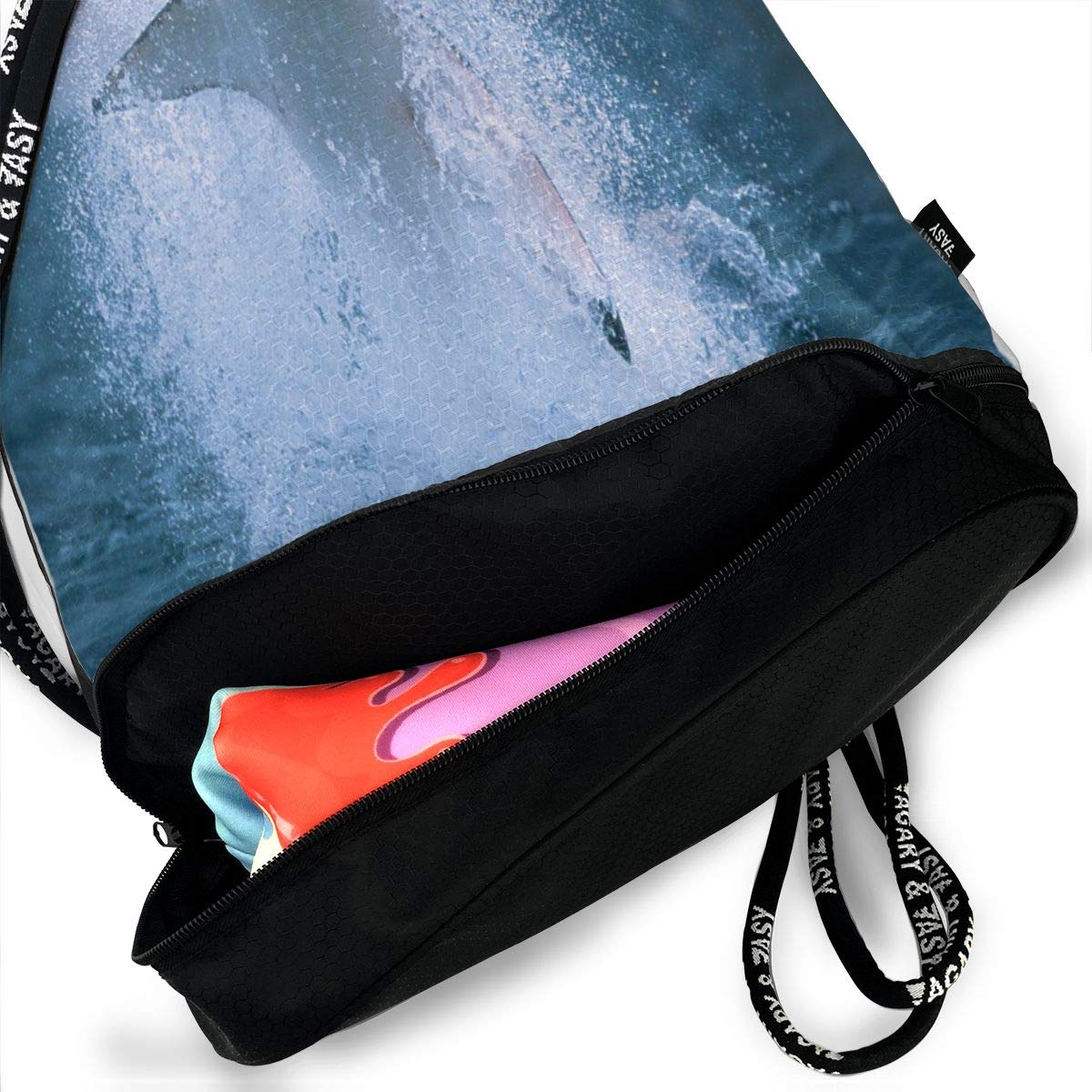 Unisex Bundle Backpack Shark Travel Durable Large Space Fantastic Waterproof Drawstring Bag