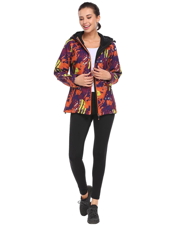 ThinIce Womens Warm Hooded Waterproof Active Outdoor Fleece Zip Bonic Softshell Jacket Coat