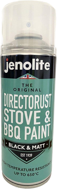 JENOLITE Directorust Barbacoa y pintura en aerosol para estufas - Negro mate - Muy resistente a altas temperaturas hasta 650ºC - 400 ml