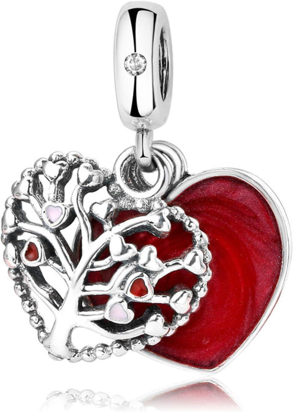 DFHTR Pendentif Perles Argent Sterling 925 Arbre De Vie Pendentif Coeur damour Rouge Adapt/é pour Bracelet /À Breloques Original Bijoux Accessoire F/éminin