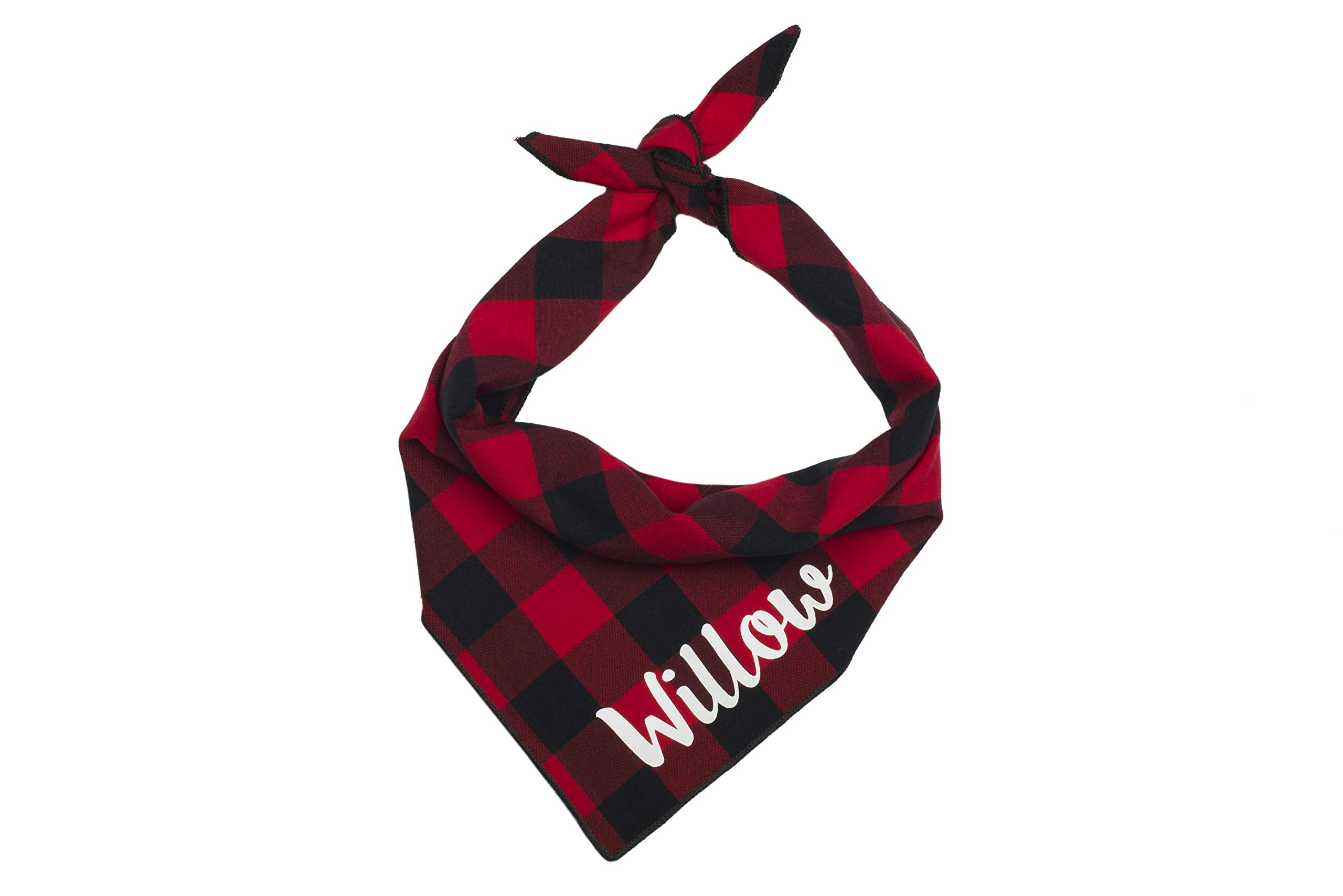 Willowear Dog Bandanas Personalized Red Buffalo Plaid XLarge by Willowear