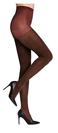 94589f70e9c05 Hue Shimmer Herringbone Tights with Control Top (Small/Medium, Cinnamon)