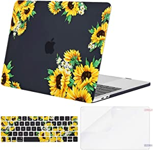 MOSISO MacBook Pro 13 inch Case 2019 2018 2017 2016 Release A2159 A1989 A1706 A1708, Plastic Sunflower Hard Shell Case&Keyboard Cover&Screen Protector Compatible with MacBook Pro 13 inch, Black