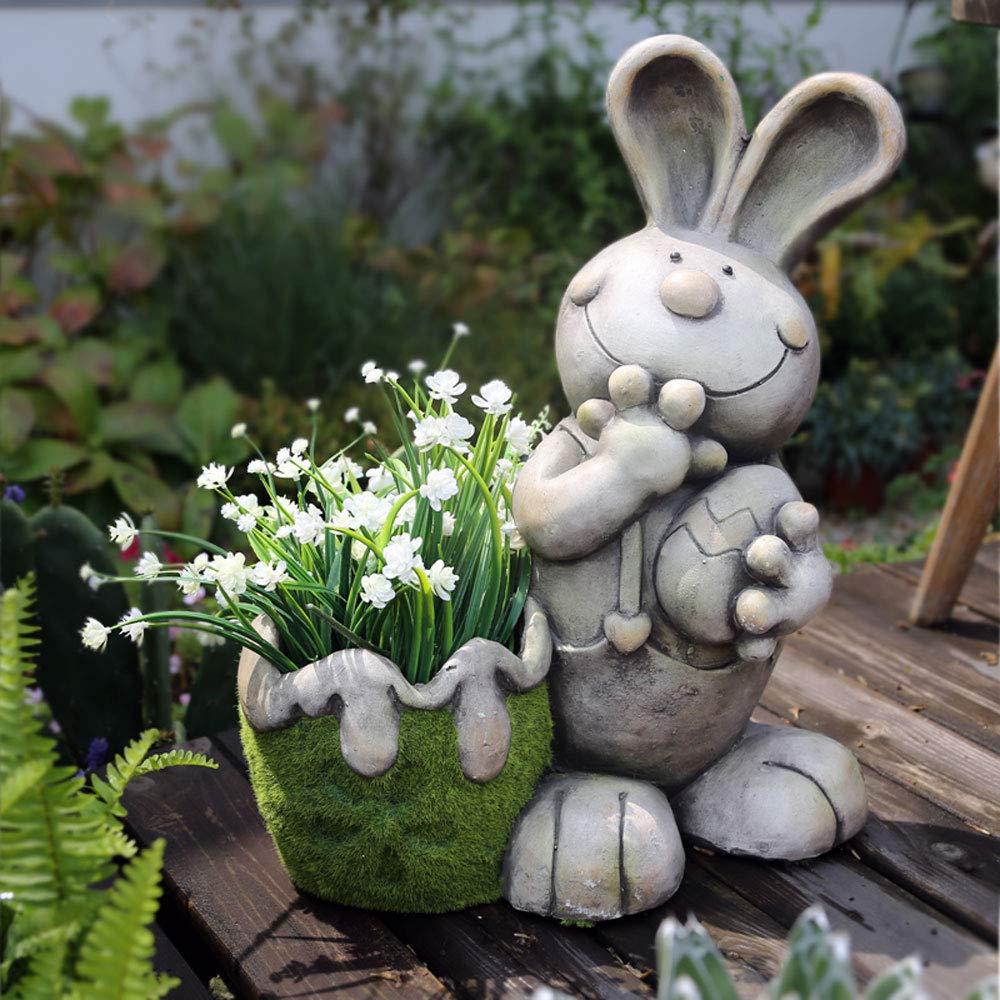 Rabbit Cart Planter Garden Ornament