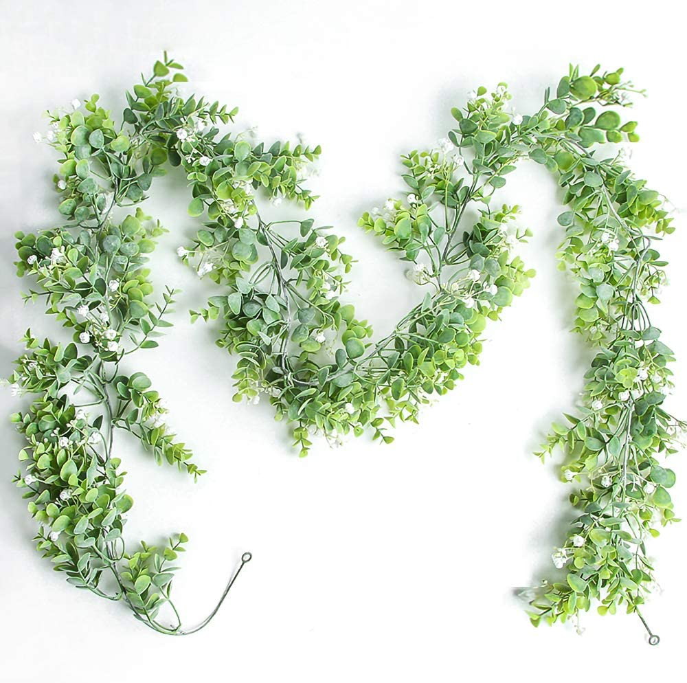 Jhyccdd Artificial Eucalyptus Rattan Plants (Free 2 Hooks Up),Ivy Garland,Handmade Wreaths of Leafy Hanging Vines,Artificial Flowers for Wedding Living Room,Home Decor Indoor/Outdoor, White Flowers