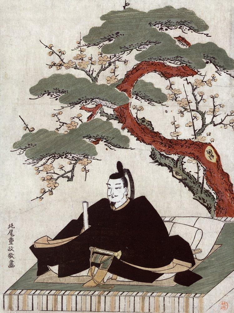 アクターSugawara no Michizane Sitting on aプラットフォームツリーJapanese木材カット印刷 36 x 54 Giclee Print LANT-21370-36x54 B01MG3GUDG  36 x 54 Giclee Print