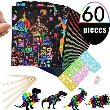 BESTZY Manualidades para Niños, 50 Hojas Scratch Art Cuadernos para Dibujar Papel de Rascar Incluye 4 Plantillas de Plantillas de Dibujo y 5 Lápices de Madera y 1 Sacapuntas: Amazon.es: Juguetes y juegos