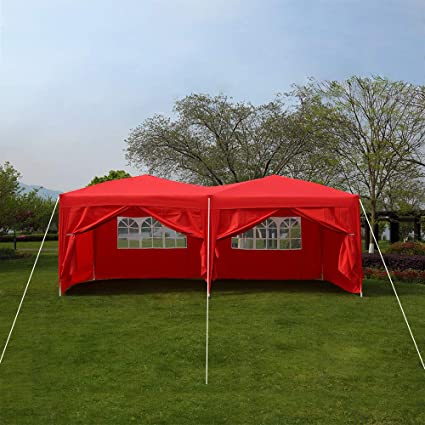 Heavy Duty Stronger Gazebo WATERPROOF with 4 Sides 6X3M Large Tent Canopy NEW
