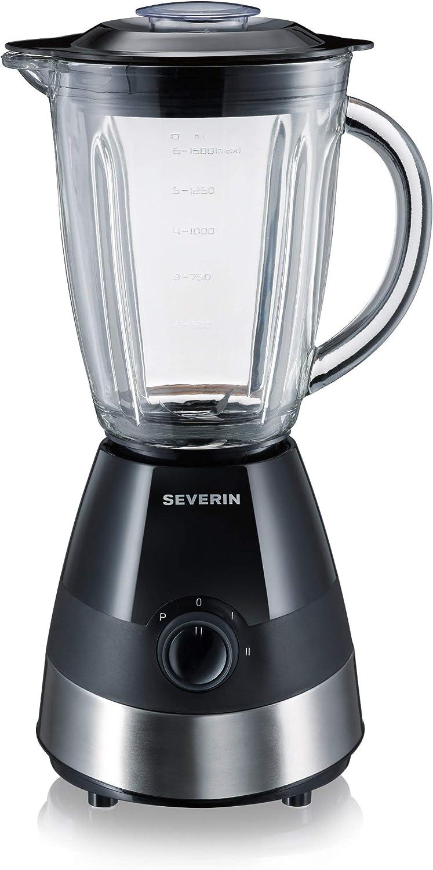 SEVERIN SM 3718 Batidora de vaso con recipiente de cristal, 550 W aproximadamente, 1,5 L, color acero inoxidable y negro