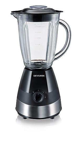 SEVERIN SM 3718 Batidora de vaso con recipiente de cristal, 550 W aproximadamente, 1,5 L, color acero inoxidable y negro: Amazon.es: Hogar