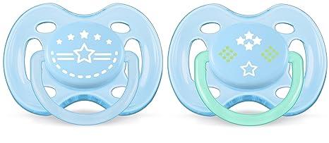 Philips Avent SCF172/01 - Pack de 2 chupetes ventilados decorados, para niño de 0-6 meses, diseño de estrella
