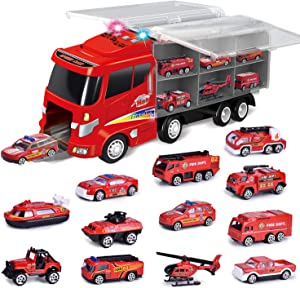 FUN LITTLE TOYS 12 in 1 Die-cast Fire Truck Toys, Easter Egg Fillers Toy Truck for Kids, Fire Engine Vehicle in Carrier Truck