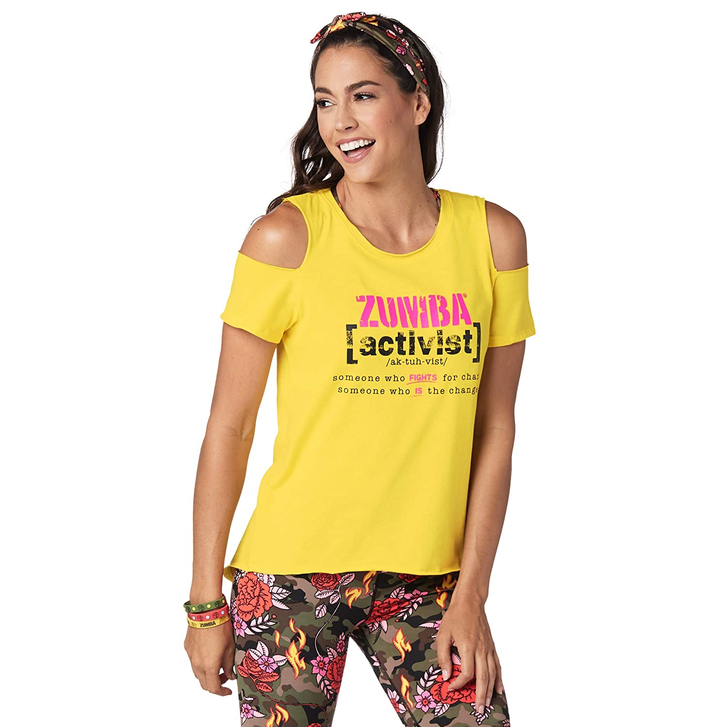 Zumba Women's Cold Shoulder Workout Fashion Print Design Tee