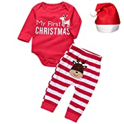 Christmas Outfit Set Baby Boys Girls My First Christmas Romper+Stripe Pants Set (0-3 Months) Red