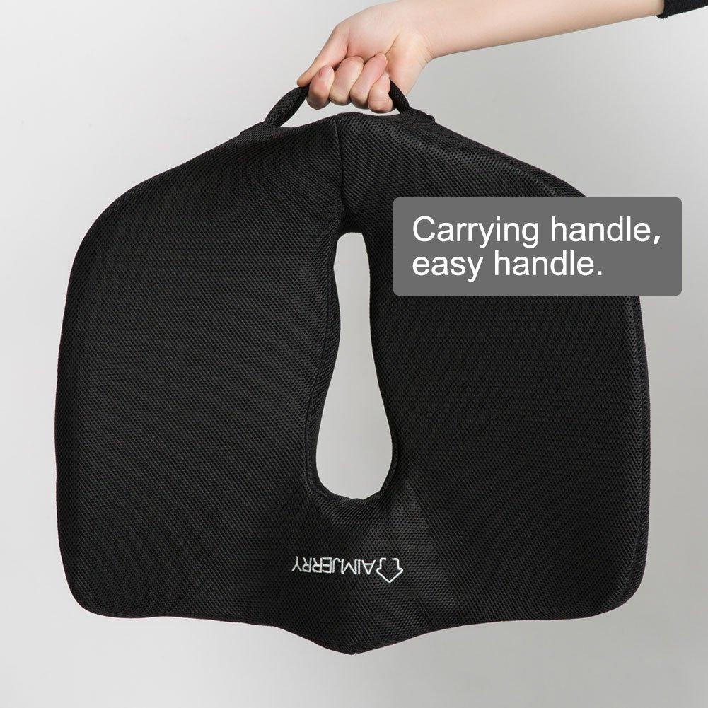 Aimjerry Cuscino Memory Foam Ufficio e Cuscino per Sedile Comfort allevia Il Mal di Schiena 17.7x15x5 inch Lavabile Copertura Black