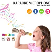 Wireless Kids Karaoke Microphone with Bluetooth Speaker, Portable Handheld Karaoke Machine Player for Home Party KTV Music Singing Playing, Support iPhone Android iOS Smartphone PC iPad(Gold)