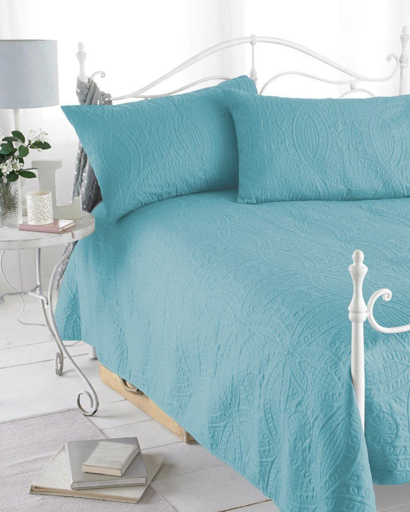 Azure Blue Reversible Embossed Quilted Bedspread, Parisienne, Includes 2 Pillowshams, 240cm x 260cm, Double/King PremierDropShop